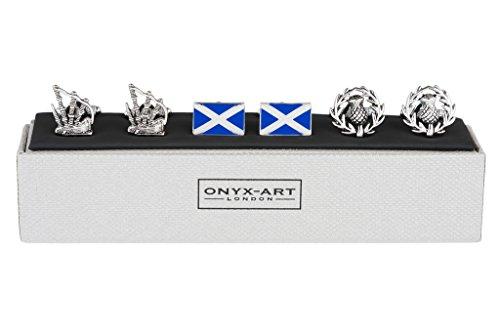 3er Set Paare von Herren Manschettenknöpfe - Highland Dudelsack Flagge von Schottland und Schottische Distel - in Onyx Art Manschettenknopf Kiste