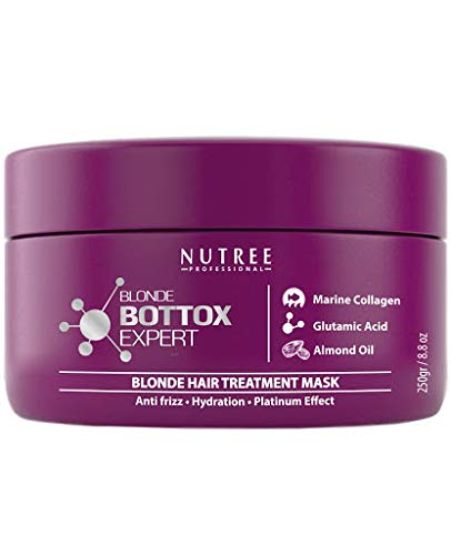 Blonde Botox Expert Purple Hair Treatment 8.8 fl.oz - Best for Blonde Hair - Anti-Brass, Eliminate Yellows, Toning Effect - Promotes the Smoothing of Hair - Adding Softness and Amazing Gloss