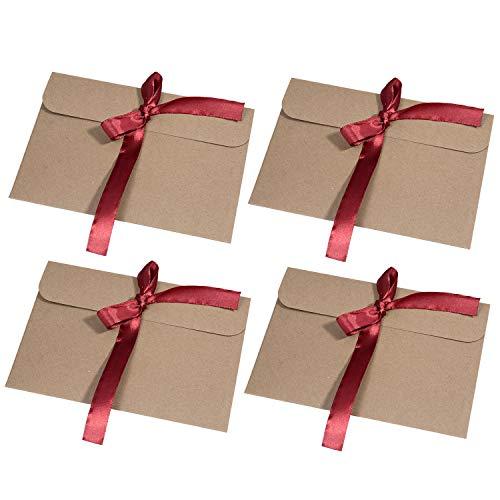 MOOKLIN [30 Stück] Kraftpapier Umschläge Retro Kraftpapier Vintage Kraft Briefumschläge in Hochwertiger Qualität Kraftkarte Recycelt für Grußkarten, Einladungskarten (Rotes Band)