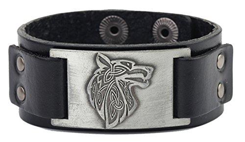 Lemegeton Pagan Celtic Knoten Wolf Fenrir Handwerk Connector Leder Manschette Armband Männer Schmuck (black, antique silver)