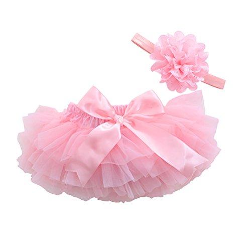 LUOEM Falda de Tutú con Cinta de Pelo de Flores para Niños Bebé Recién Nacido Accesorios de Fotografía para Fiestas Cumpleaños Talla M (Rosado)