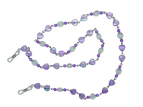 GoOpticians Purple Beaded Heart Women's Traditional Fasten Glasses Cord Necklace Spectacle Chain