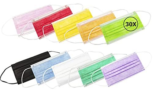 TBOC Maschera Igienica Monouso - [Pack 30 Unità] Mascherina [Multicolore] Polipropilene a 3 Strati Leggera e Morbida Traspirante Clip per Naso Protezione...