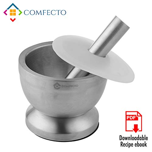 Comfecto 18/8 Stainless Steel Mortar and Pestle Spice Grinding Pill Crusher with Lid for Crushing Grinding Design with Anti Slip Base and Comfy Grip