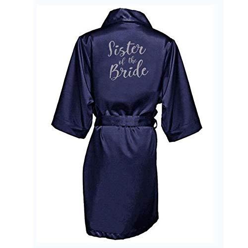 ATEYC Brautrobe, Gewand Partei-Geschenk, Bridesmaid Kimono Bride Morgenmantel (Color : Navy Sister Bride, Size : S)