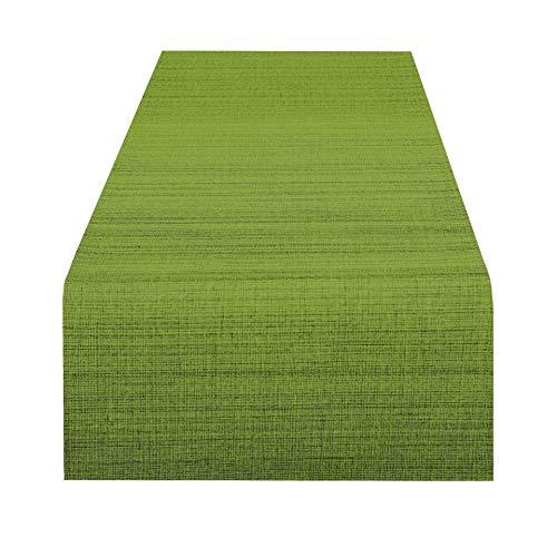 Delindo Lifestyle Camino de mesa SAMBA verde, impermeable, antimanchas, casa y jardin, moderno, rectangular 40x140 cm