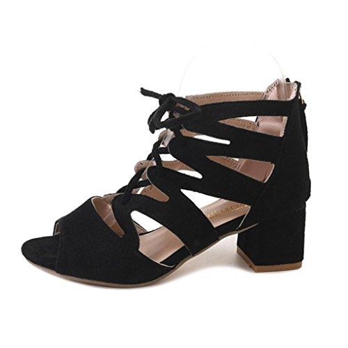 ASHOP Sandalias Mujer Bohemia Las Bailarinas Planas Zapatos de Cordones Verano Tobillera Moda Zapatillas De Playa Sandalias y Chanclas de Cuero Cómodo Y Elegante