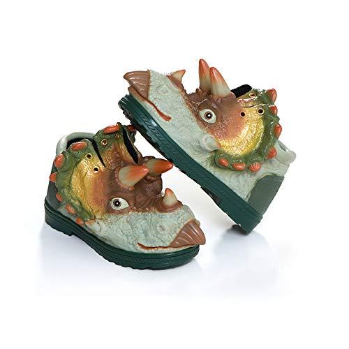 Zapatos para niños, zapatillas de deporte, botas de lluvia, ligeras, transpirables, vendaje para niñas, antideslizantes, no fáciles de deformar dinosaurios (tamaño: 26 yardas-166 mm, color: verde)