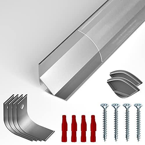 NITO Eckprofil Aluminium LED eloxiert | Transparent Licht-Voute| Alu Kanal für LED Streifen | inkl. Montageclips + 2x Endclips | Aluprofil für Stripes bis 20mm Breite…