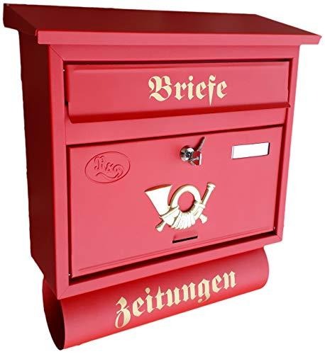 Großer Briefkasten/Postkasten XXL Rot matt mit Abnehmbarer Zeitungsrolle Flachdach Katalogeinwurf Zeitungsfach (Rot)