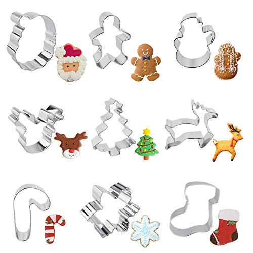 Moleou Christmas Cookie Cutter Set, 9 Piece Cookie Cutters Include;Santa Claus, Christmas Tree, Reindeer Face, Snowman, Gingerbread Man, Reindeer, Candy Canes, Snowflake, Socks