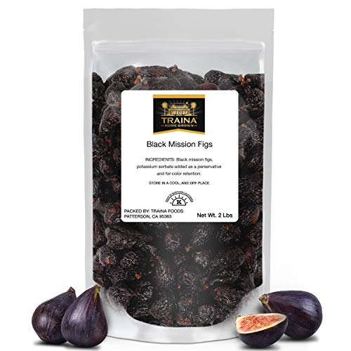 Traina Home Grown California Dried Whole Black Mission Figs - No Added Sugar, Non GMO, Gluten Free, Kosher Certified, Vegan, Packed in Resealable Pouch