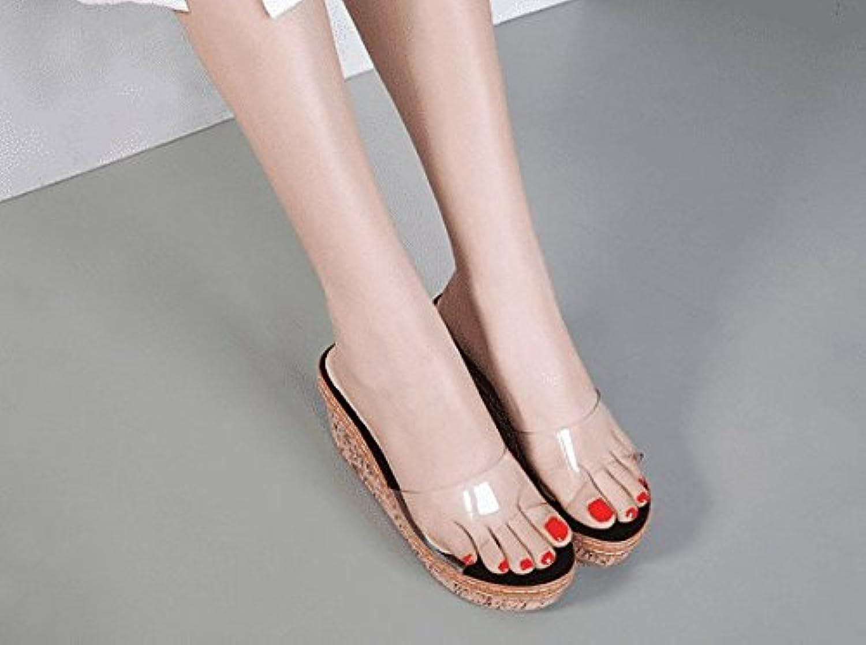 AWXJX Sommersaison Frauen Flip Flip Flip Flops Dick Unten High Heel äußeren Verschleiß Hang Wasserdicht Schwarz 7 US 37.5 EU 4.5 UK 5dad9d