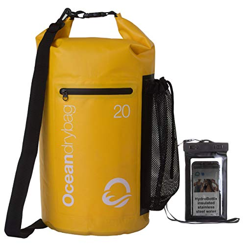 Oceandrybag  All Weather 20L Yellow Durable Lightweight Floating Waterproof Dry Bags Waterproof Back Pack Dry Bags for Kayaking Waterproof Dry Bags for Boating Camping Dry Bags Free Mobile Phone Case