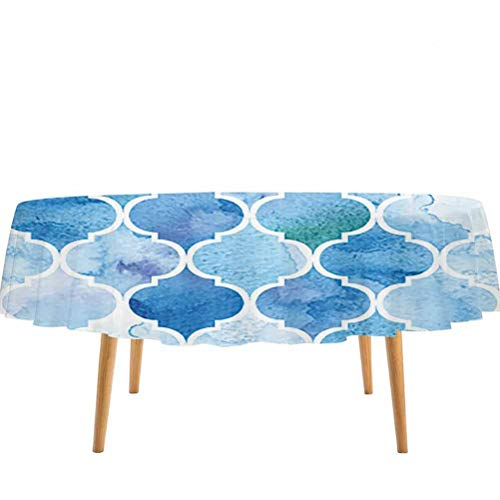 prunushome Watercolor Round Tablecloth Abstract Moroccan Trellis Geometric Pattern Curves Persian Mosaic Design Birthday Party BBQ Fiesta Blue Baby Blue – 60' Round