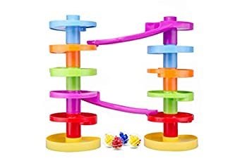 Ball Drop Educational Toy with Bridge - Advanced Spiral Swirl Ball Ramp Activity Playset for Toddlers