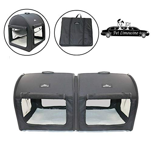 Pet Limousine Soft Dog Cat Crate The Portable 2-in-1 Double Travel Kennel Tube Carrier for All Pets Car Seat Ready Carriers Soft-Sided