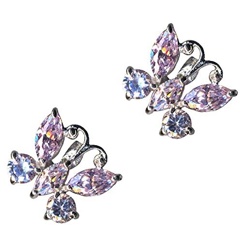 Pendientes de plata de ley 925 con diseño de mariposa, color rosa, lila y lavanda, cristales de circonita, brillantes, amor, fe, esperanza, emoción, símbolo, diseño, objeto extravagante.
