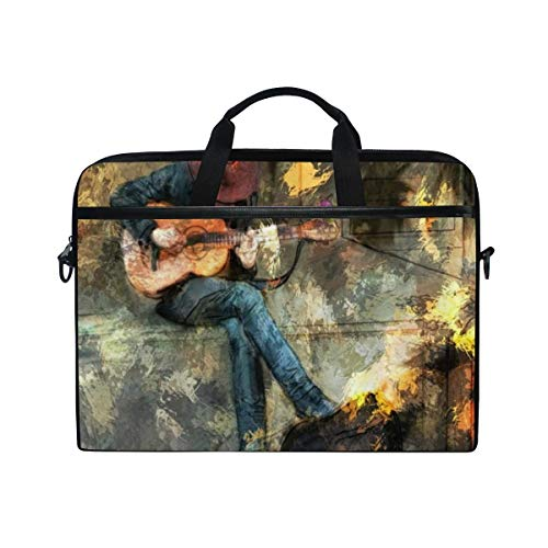 FOURFOOL 15-15.6 inch Laptop Bag,Music Musical Hipster Man Playing Electric Guitar Colorful Vintage Oil Painting,New Canvas Print Pattern Briefcase Laptop Shoulder Messenger Handbag Case Sleeve