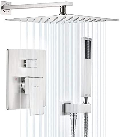 ESNBIA Shower System Brushed Nickel 12 Inches Shower Faucets Sets Complete Shower Valve Included product image