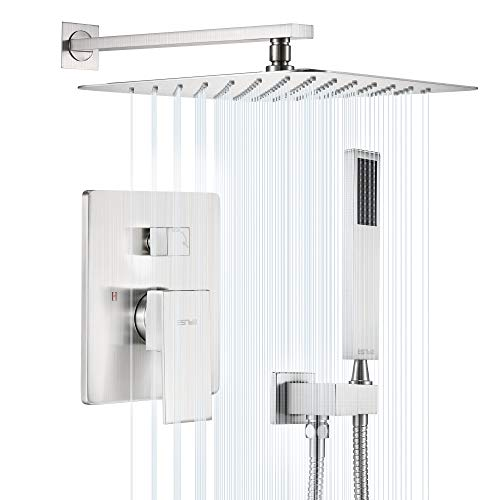 ESNBIA Shower System, Brushed Nickel Shower Faucet Set with Valve...