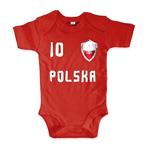net-shirts Organic Baby Body mit Polska Polen Poland Trikot 02 Aufdruck Fußball Fan WM EM Strampler - Spielernummer wählbar, Größe 03-06 Monate-Spielernummer 09