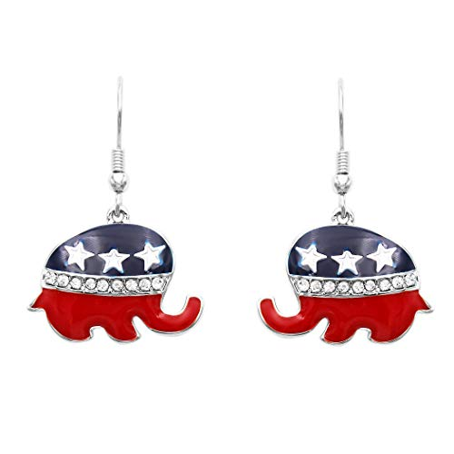 Rosemarie Collections Women's Republican Elephant Patriotic USA Political Party American Flag Dangle Earrings (Elephant Republican)