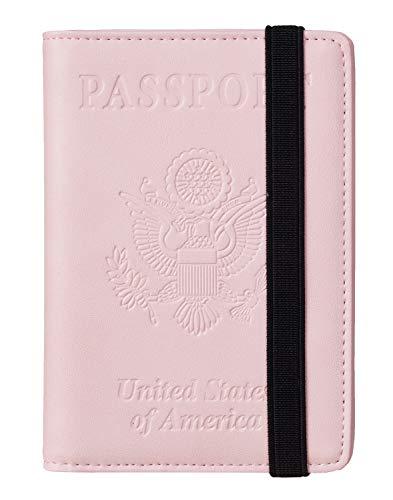 Travelambo RFID Blocking Leather Passport Holder Cover Case Travel Wallet Elastic Strap(Pink NP Light pink)