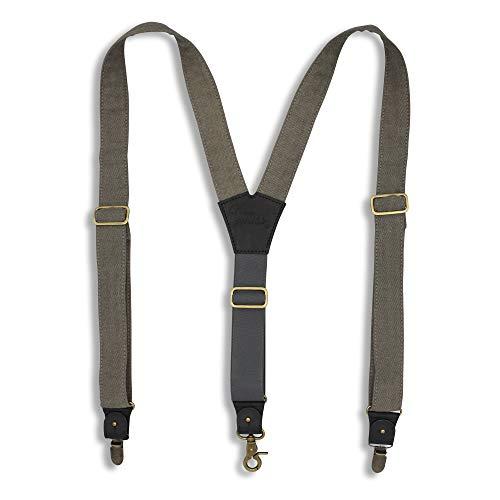 Wiseguy Hosenträger aus segeltuch, mit verstellbarem elastischem Band auf der Rückseite, 3,5 cm breit, mit hochwertige Lederteilen (Grau)