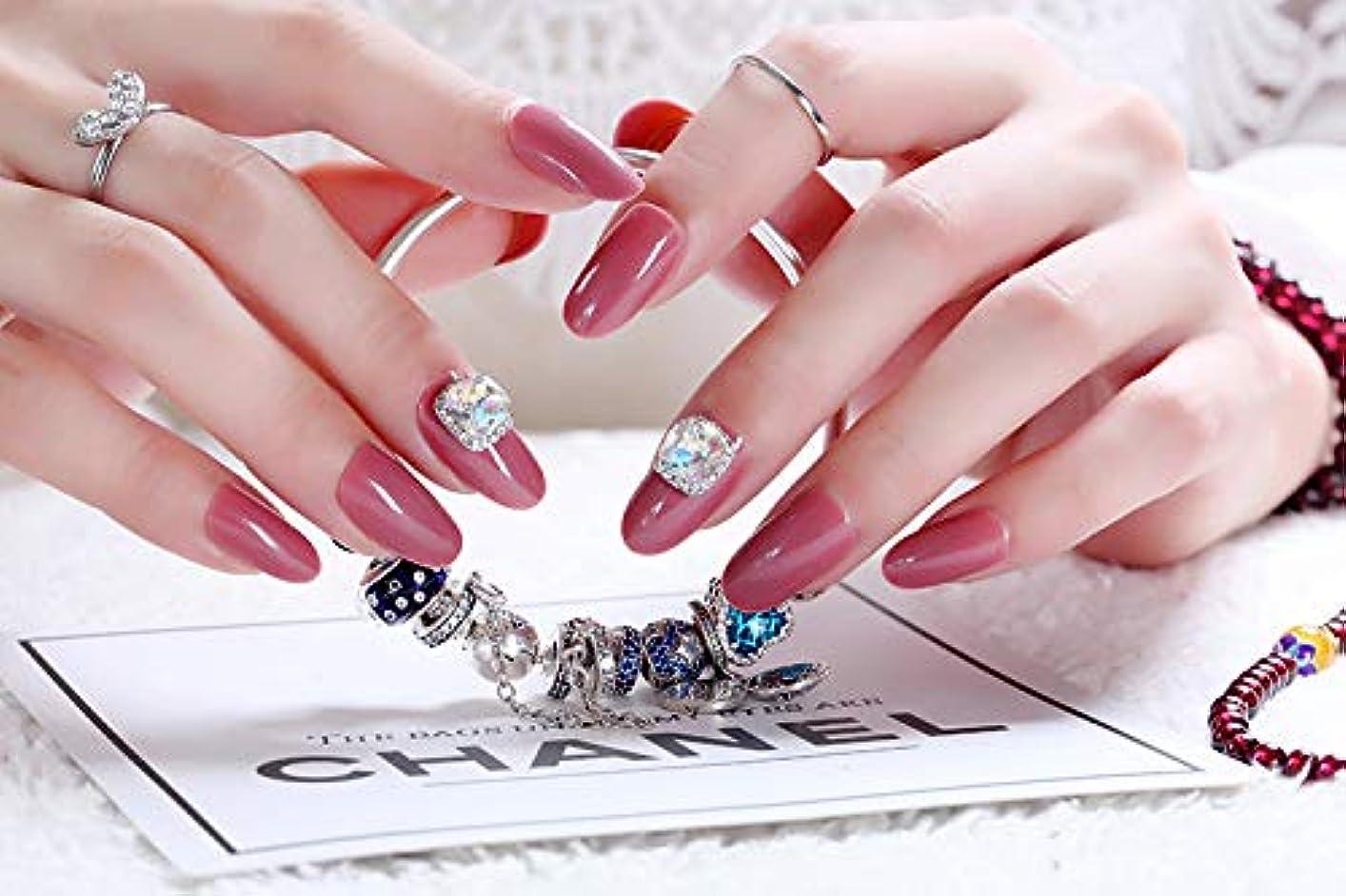 これら良さスキニーネイルアートを着用する 24枚入 高品質 ジュエリーインレイ 人工ダイヤモンド 輝く エレガント 中位の長さ 手作りネイルチップ ネイル花嫁 (あんこ)