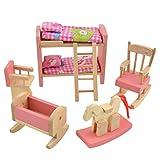 Madera Cuarto del Bebé Casa de Muñecas Miniatura Mueble Litera Caballo Mecedora Silla Set de Juguete Familia de Muñecas Juegos de Imaginación para Niños Chicas por SamGreatWorld