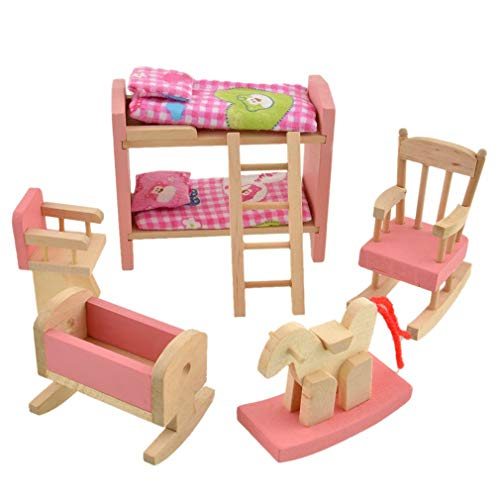 Wooden Baby Room Dollhouse Miniature Furniture Bunk Bed Rocking Horse Chair Toy Set Doll Family Pretend Play Accessories for Children Girls by SamGreatWorld