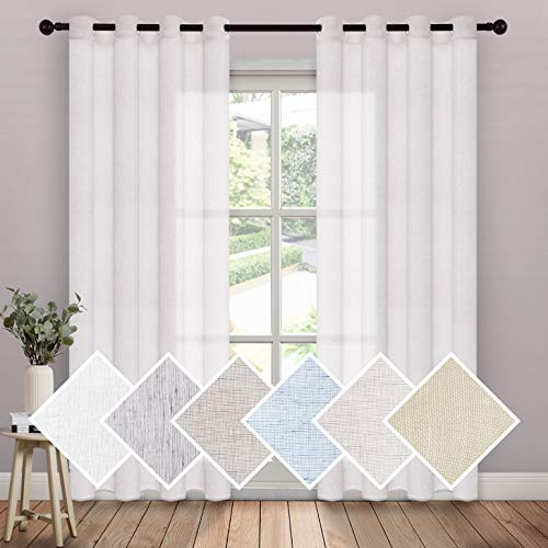 MIULEE 2 Panels Modern White Linen Sheer Curtains Light Filtering Solid Drapes for Bedroom Window, Open Weave Linen Look Curtains Grommet Top (Set of 2, 52 by 84Inch, White)