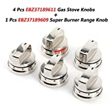 4 Pcs EBZ37189611 Gas Stove Knobs & 1 Pcs EBZ37189609 Super Boil Burner Control Knob Replacement Part by...