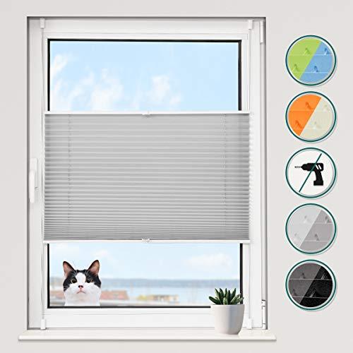 Grandekor *Plissee Klemmfix Jalousie ohne Bohren Grau 50x100 (BxH) Rollo klemmfix Innenjalousien Sichtschutz und Sonnenschutz für Fenstern & Türn
