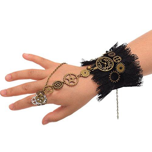 BLESSUME Steampunk Manschetten Gothic Victorian Handstulpe Armbänder (E)