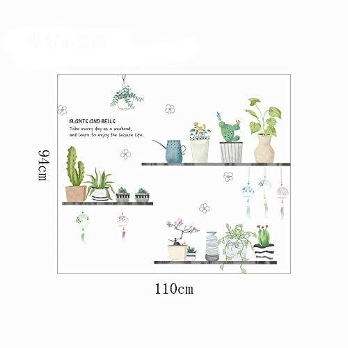 Wandsticker voor kinderen, pastorale stijl, frisse tuin, pot bloempot, muursticker, plant, woondecoratie.