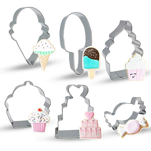 Bonropin Ice Cream Cupcake and Sweets Cookie Cutter Set(6 Pieces),Stainless Steel Cutters Molds Cutters for Making Ice Cream Cone,Popsicle,Soft Serve Ice Cream,Cupcake,Love Cake and Candy