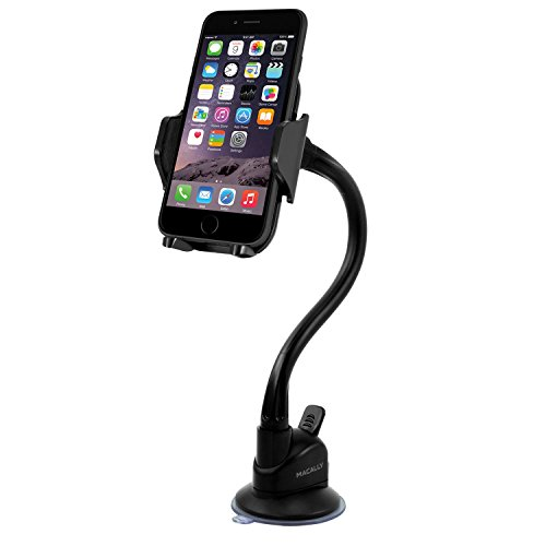 Macally Windshield Phone Mount for Car with 14' Long Arm Holder, Cable Clip Organizer, Anti Skid Base for iPhone 11 Pro Max XS XR X 8 8+ 7 7+ 6s Plus SE Samsung Galaxy S10 S10+ S9 S8 Edge Note, etc.