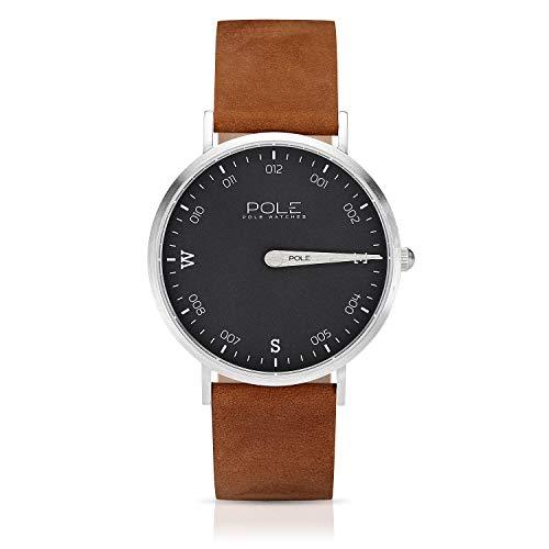 Pole Watches Reloj de Pulsera Analógico Monoaguja de Cuarzo para Hombre Esfera Plomo y Correa de Cuero Camel Modelo Compass Hazel B-1001PL-MA04