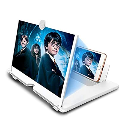 14 inch Screen Magnifier for Mobile Phone,Anti-Radiation Eye Protection with Foldable Stand-3D Magnifier Projector Screen for Movies, Videos,Reading,Gaming,Compatible with All Smartphones-White from DLseego
