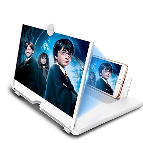 Newseego 14-Zoll Bildschirm Vergrößerungsglas, Ausziehbarer HD Bildschirm gegen Blaulicht, Bildschirmlupe Ständer für das Ansehen von Filmvideos auf Alle Smartphone, Weiß