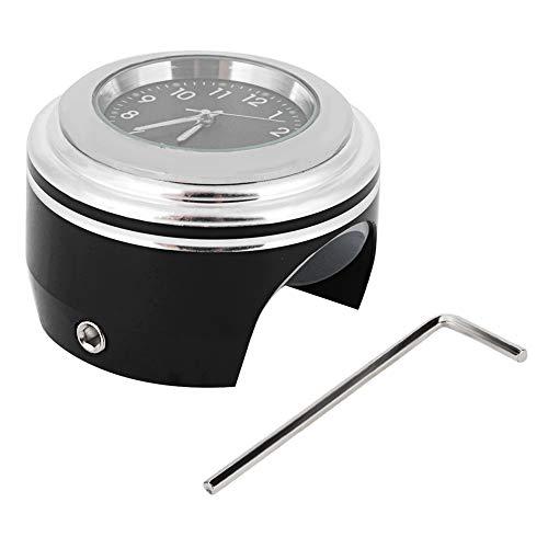 Motorrad Lenkerhalterung Uhr,Motorrad Lenker Uhr Modifikation Lenkerhalterung Wasserdichte Quarzuhr Uhr Zubehör(White Surface Black Dial)