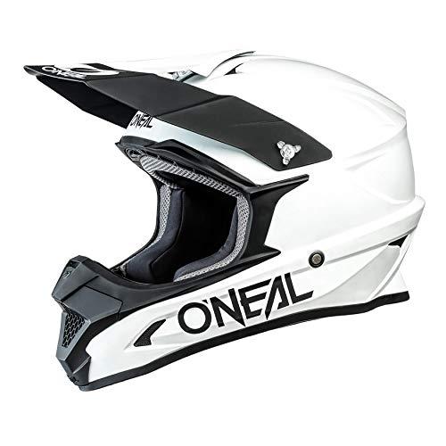 O'NEAL | Casco de Motocross | MX Enduro Motocicleta | ABS Shell, Estándar de Seguridad ECE 2205, Óptima ventilación y refrigeración | 1SRS Casco Sólido | Adultos | Blanco | Talla S