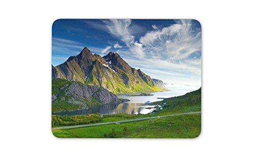 Mauspad mit Norweger-Fjord-Motiv, Norwegen-Landschaft, lustiges Reisen, Geschenk, Computer #13013