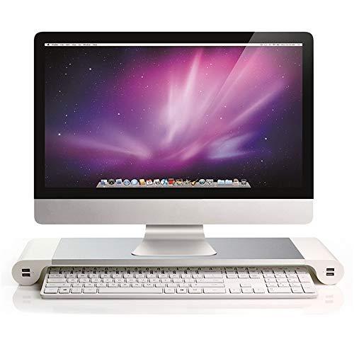 Soporte para monitor con USB blanco, elevador de monitor con 4 puertos USB de carga, soporte de pantalla de aluminio para oficina, ordenador portátil, computadora, iMac, impresora