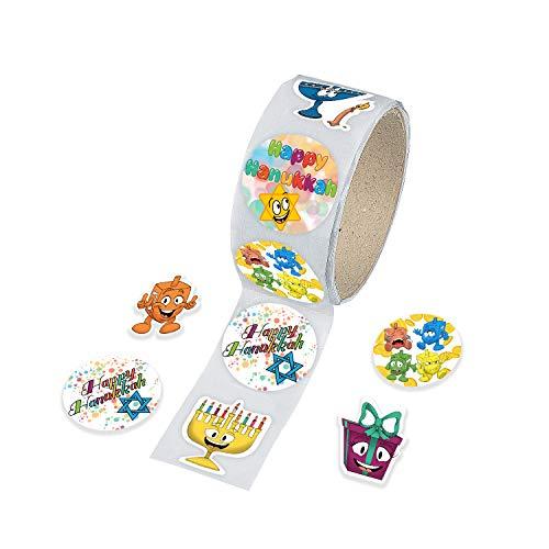 Hanukkah Sticker Roll, Chanukkah Menorah with Candle, Gift-Box, Dreidel, Happy Hanukkah Sticker Roll 150 Count (Single)