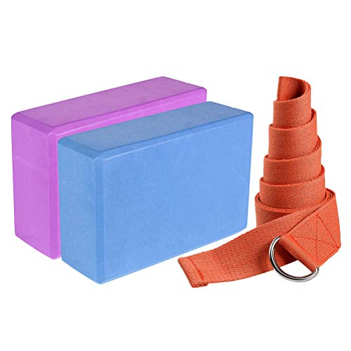 ABOOFAN 1 juego de bloques de yoga EVA para pilates ladrillo Fitness Belt Set para ejercicios de entrenamiento de fitness, bloque de ladrillo, cinturón de estiramiento de yoga (color al azar).