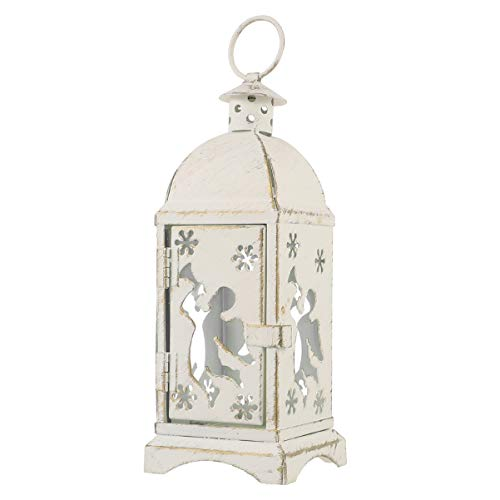 OSALADI Lanterna de Vela Branca Vintage Castiçal de Natal Lanternas Rústicas Internas Decorativas Externas Lanterna Pendurada Decorativa Vela de Luz de Chá Suporte de Vela Anjo