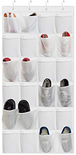 Over The Door Shoe Organizer, Hanging Shoe Holder with 24 Extra Large Fabric Pockets 68.5''x25'' for Storage Men Sneakers, Women High Heeled Shoes, Slippers (White Wavy Embossing)